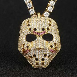 Iced Scary False Face Mask  Pendant in Gold