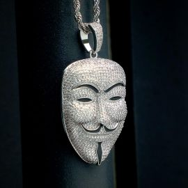 Iced Smile Killer False Face Pendant in White Gold