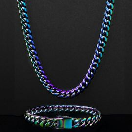 "10mm 24"" Rainbow Miami Cuban Link Chain with 8"" Bracelet Set"
