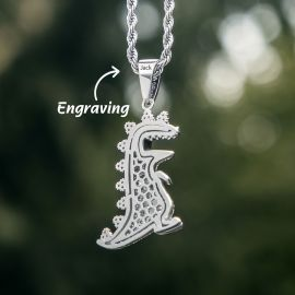 Iced Dinosaur Pendant in White Gold