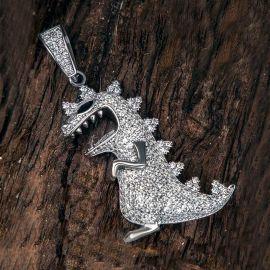 Iced Dinosaur Pendant in White Gold