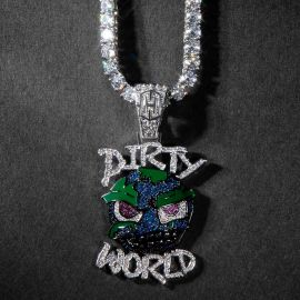 Iced Dirty World Pendant in White Gold