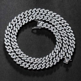 Iced 8mm Cuban Link Chain in White Gold