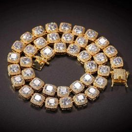 10mm Iced Baguette Tennis Necklace in Gold