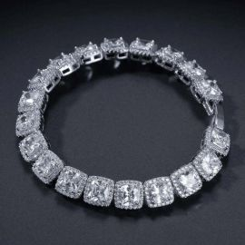 10mm Iced Baguette Tennis Bracelet in White Gold
