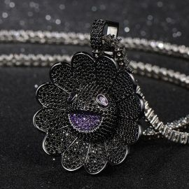 Iced Sunflower Pendant in Black Gold