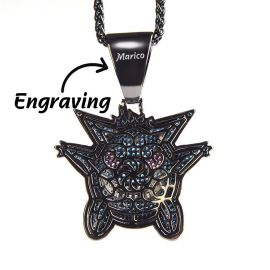 Iced Sapphire Gengar Pendant in Black Gold