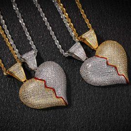 2pc Two-Tone Broken Heart Pendant