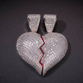 2pc Broken Heart Pendant in White Gold