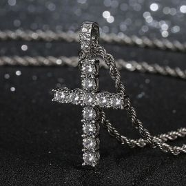 Iced Cross Pendant in White Gold