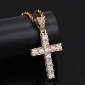 Iced Princess Cut Cross Pendant in Gold