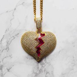Gold Iced Broken Heart Pendant