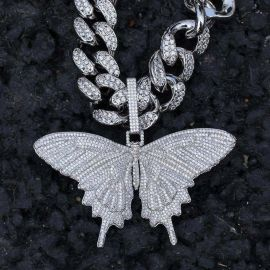 Iced Butterfly Pendant in White Gold