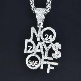 Iced No Days Off Pendant in White Gold