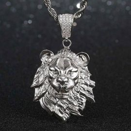 Lion Pendant in White Gold