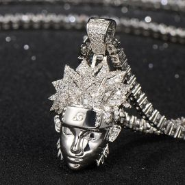 Ninja Pendant in White Gold