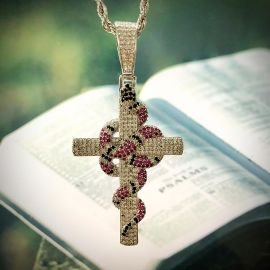 Twisted Coral Snake Cross Pendant in White Gold