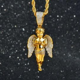 Iced Praying Angel Pendant