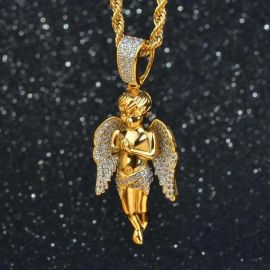 Iced Praying Angel Pendant