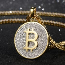 Iced Bitcoin Pendant in Gold