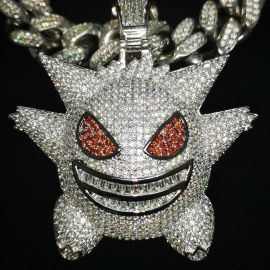 Big Iced Gengar Pendant in White Gold