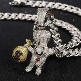 Iced Dough Boy Money Bag Pendant in White Gold