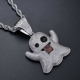 Iced Ghost Emoji Pendant in White Gold