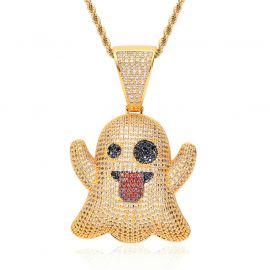 Gold Ghost Emoji Pendant