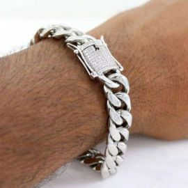 10mm 18K White Gold Finish Miami Cuban Bracelet
