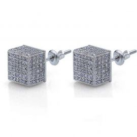Men Iced Round Stone Paved Earring