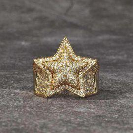 18K Gold Iced Star Ring