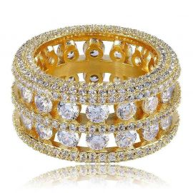 Round Cut Halo Eternity Band in Gold