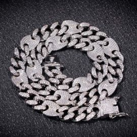 13mm Cuban G-Link Chain in White Gold