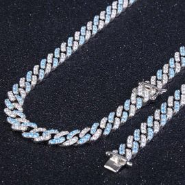 8mm Iced Blue&White Two-tone Cuban Chain Set