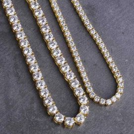 3mm 18K Gold Tennis Chain + 5mm Gold Tennis Chain Set