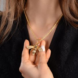 Women's Iced Bee Pendant in Gold