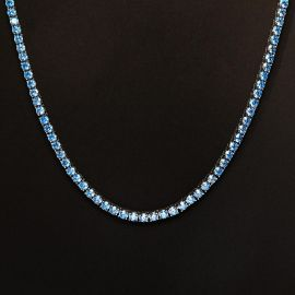 4mm Blue Stones Tennis Chain in 18K White Gold
