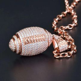 Iced American Football Pendant in Rose Gold