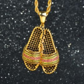 Iced Flip Flop Pendant in Gold