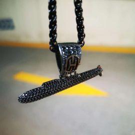 Iced Submarine Pendant in Black Gold