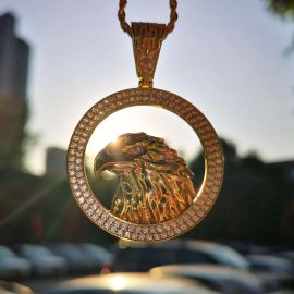 Iced Eagle Pendant in 18K Gold