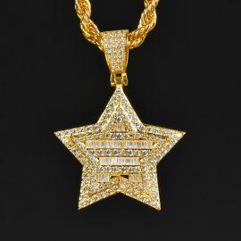 Iced Pentagram Pendant in Gold