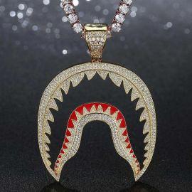 Iced Shark Pendant in Gold