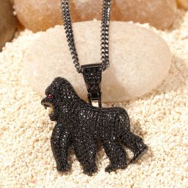 Iced Gorilla Iced Pendant in Black Gold