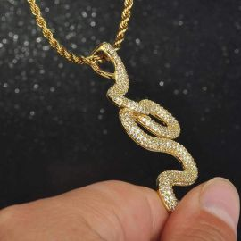 Iced Twisted Snake Pendant in Gold