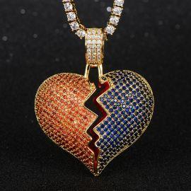 Iced Red & Blue Broken Heart Pendant