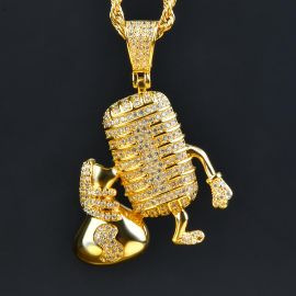 Microphone with Money Bag Pendant in Gold