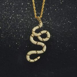 Iced Two Tone Twisted Snake Pendant in Gold