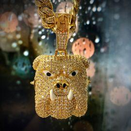 Iced Bully Pitbull Pendant in Gold