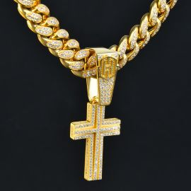 Double Iced Latin Cross Pendant in Gold